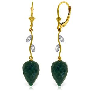 DIAMONDS & DROP BRIOLETTE DYED GREEN SAPPHIRES
